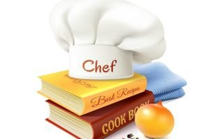 Chef and cooking realistic concept with cook books hat and onion vector illustration
